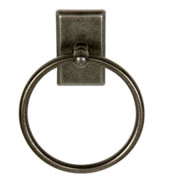 SANDCAST TOWEL RING SQ-Aged Pewter